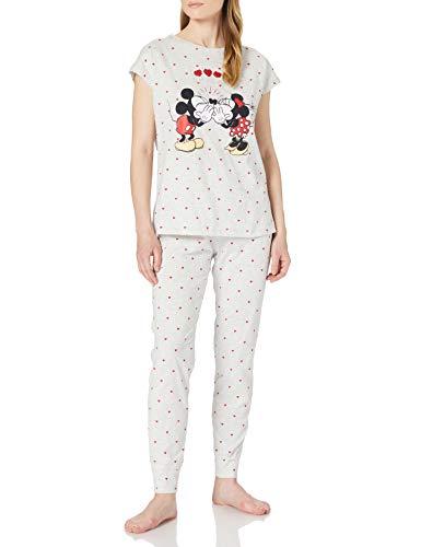Women' Secret Pijama Mickey y Minnie algodón, Estampado Gris, XL para Mujer