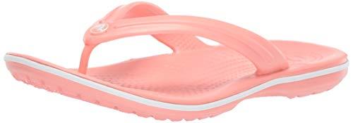 Crocs Unisex-Erwachsene Zehentrenner Zehentrenner Crocband Flip, Rosa (Melon/Weiß), 41-42 (Herstellergröße: M8/W10)