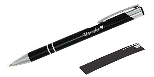 Mitbringsel und Geschenk in Premium-Qualität: personalisierter Metall-Kugelschreiber mit Gravur, Stift mit Name (Schwarz)