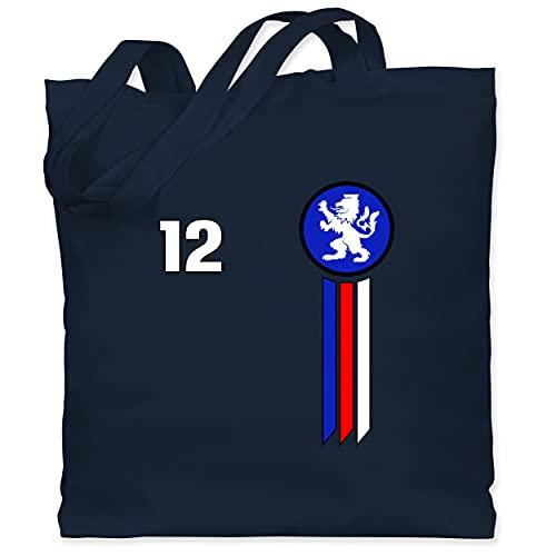 Shirtracer Fussball EM 2021 Fanartikel - 12. Mann Tschechische Republik Emblem - Unisize - Navy Blau - Tschechien - WM101 - Stoffbeutel aus Baumwolle Jutebeutel lange Henkel