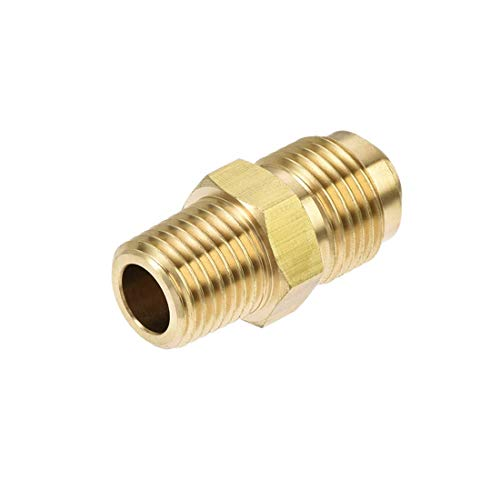 DyniLao Brass Hose Fitting, SAE 45 Degree 3/8 Inch Flare to 1/4 Inch NPT Male Thread, Tube Adapter Hose Connector, for Air Conditioner Refrigeration