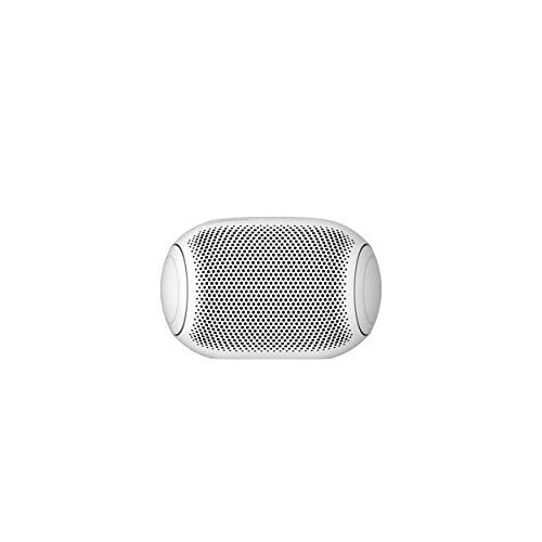 LG XBOOM Go PL2W Bluetooth-Lautsprecher, tragbar, IPX5 wasserdicht, mit Meridian Audio und kraftvollen Bässen, 10 Stunden Wiedergabe, Sprachsteuerung, Sound Boost