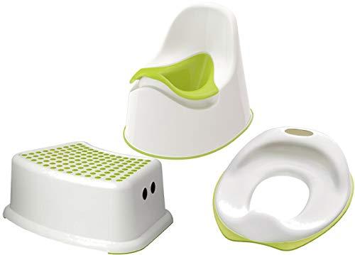 Ikea 601.931.28 Lockig orinal para niños con asiento de inodoro Tossig y asiento de taburete Forsiktig, color blanco y verde