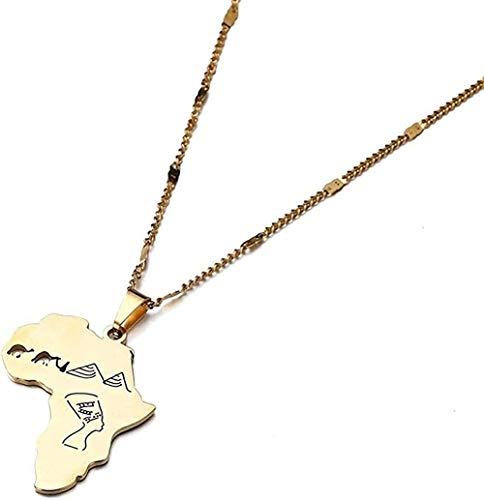 AOAOTOTQ Co.,ltd Halskette Edelstahl Afrika Karte Anhänger Halsketten Ägyptische Königin Kamel Pyramide Trendy Schmuck Halskette Länge 50 cm