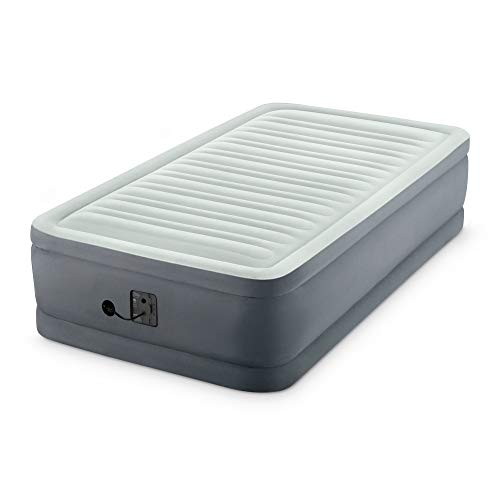 Intex PremAire I Fiber-Tech Elevated Dura Beam Technology Home Air Mattress Bed with Electric Built-In Pump, Twin