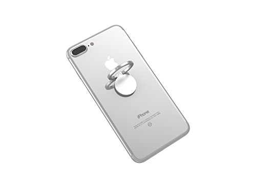 Kronya® | Portaobjetos giratorio 360 ° para smartphone | Sostenedor aptitud dedo coche celular anillo soporte teléfono móvil Apple iPhone iPad 7 8 10 X Samsung Galaxy S8 4 (Plata)