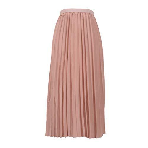 Best Prices! TWGONE Pleated Midi Skirt High Waist Womens Solid Color Elasticated Waist Skirt(One Siz...