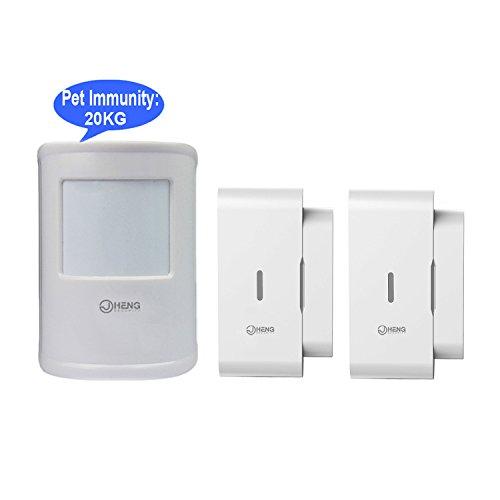JC 433 MHz Wireless Digital PIR Detektor, Bewegungsmelder Sensor mit PET-Immunität Max 20kg, plus mit Wireless-Tür-Sensor