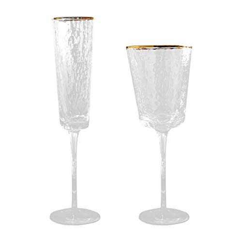 ABOOFAN 2 piezas de cristal de vino creativo whisky taza ramo fiesta suministro oro
