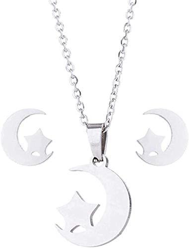 Yaoliangliang Collar Mujer Joyería de Navidad Collar Pendientes Geométrico Luna Estrella Colgante Conjuntos de Joyas de Acero Inoxidable Pendientes Conjunto de Collar