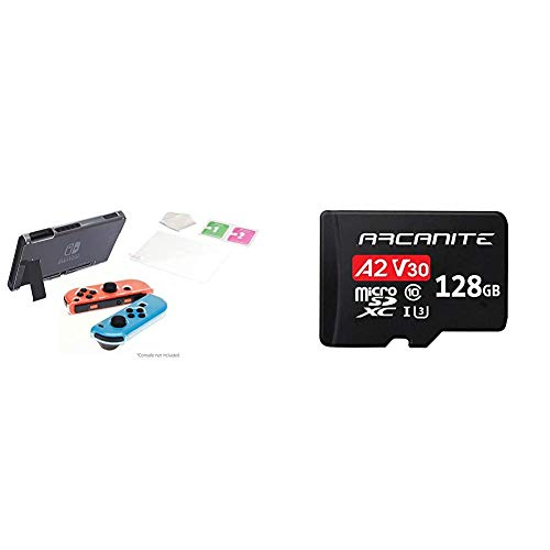 iMW, kit protettivo 3 in 1 per Nintendo Switch + ARCANITE, 128 GB Micro SDXC scheda di memoria con adattatore - A2, UHS-I U3, V30, 4K, C10, Micro SD, Velocità di lettura fino a 95 MB/s