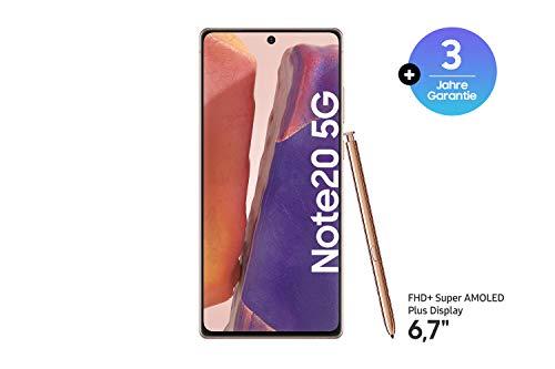 Samsung Galaxy Note 20 5G Android Smartphone ohne Vertrag Triple Kamera Infinity-O Display 256 GB Speicher starker Akku Handy in bronze inkl. 36 Monate Herstellergarantie [Exklusiv bei Amazon]