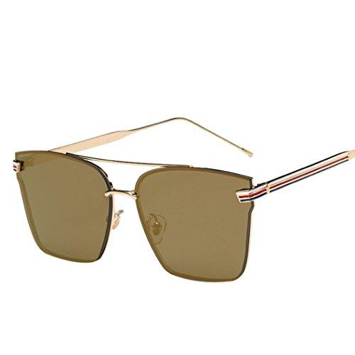 VENMO Gafas De Sol Para Hombres Y Mujeres Espejo Marco de Metal Fashion Square (Oro)