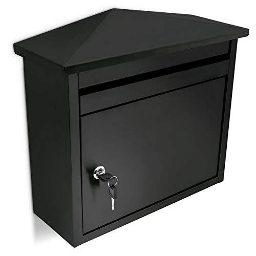 Relaxdays Briefkasten aus Eisen, Abschließbar, Postkasten mit Spitzdach, HBT: 37 x 41 x 16 cm, schwarz