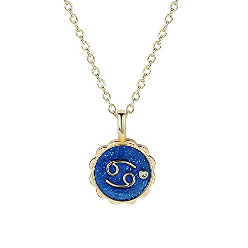 12 Constelación Azul Colgante Collar Micro Pavé Circón Forma De Flor Collares Para Mujeres Niña Regalo Joyería 05