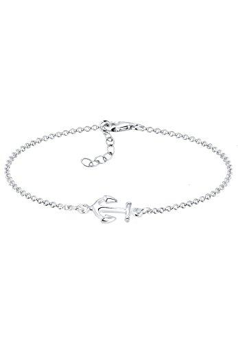 Elli Damen Armband Anker Maritim Segler Trend Symbol in 925 Sterling Silber - 17cm Länge