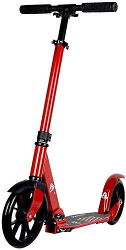 lqgpsx Patinete plegable con ruedas grandes, scooter de empuje rojo para niños, niñas, adolescentes, adultos – freno trasero – soporta 200 libras