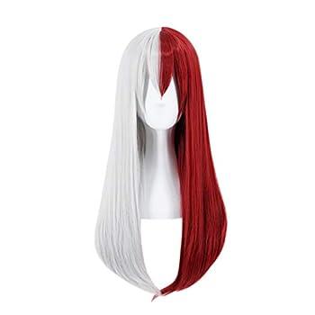 C-ZOFEK Boku No Hero Academia Shoto Todoroki Cosplay Wig Female  Red-White