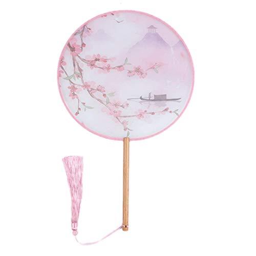 MOJIE Hecho A Mano De Mango Largo De La Borla De Las Señoras De Grupo Ventilador Retro Impresión Ventilador Decorativo Adornos (Color : Pink)