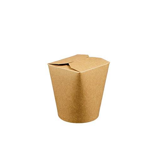 HANTERMANN Premium Geschirr aus Karton | Asia-Food-Box, braun | Einwegschale | Bio Einweg Geschirr | 50 Stück | 500 ml | 100% biologisch abbaubar, kompostierbar | umweltfreundlich und stilvoll