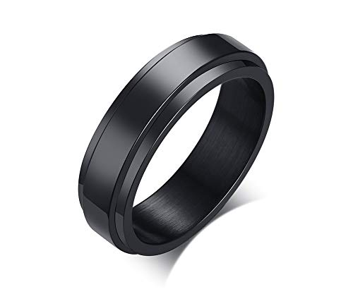 VNOX Men's Black Stainless Steel Simple Spinner Ring Possession Wedding Band Silver,6mm Width