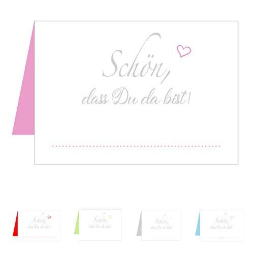 Edition Seidel Set 50 Premium Tischkarten Tischkärtchen Platzkarten Namenskarten Hochzeit - Geburtstag - Taufe - Kommunion - Konfirmation - Firmung - Jugendweihe - Goldene Hochzeit (Pink Rosa)