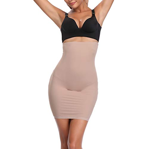 High Waist Half Slips for Women Under Dresses Tummy Control Slimming Body Shaper Shapewear Beige