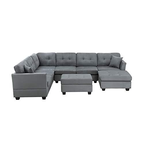 Yunbai Conjuntos de sofás para Sala de Estar Sofá Modular combinación con Forma de sofá Modular con Forma de U Dos Almohadas tapizadas para el Piso de la habitación Mats Adecuado para Apartamentos de