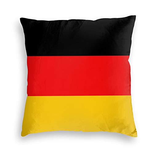 Feamo Germany Flag Velvet Soft Decorative Square Throw Pillow Covers Cushion Case Pillowcases for Sofa Chair Bedroom Car 18X18inch