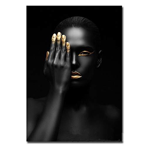 Mano Que Cubre A La Mujer Negra En La Cara En Una Impresión Del Arte De La Lona Maquillaje Facial Dorado Único En La Cara De Modelo Femenino Africano Decoración De Pared, Sin Marco,40×50cm