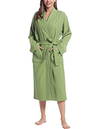 Joyaria Damen Bademantel 100% Baumwolle Waffel Morgenmantel Kimono Lang Leicht mit Gürtel/Taschen Große Größe(Grün,XL/XXL)