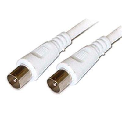 World of Data - Cable coaxial de 2 m con acoplador F-F (Doble blindado (sin Fantasmas), Color Blanco