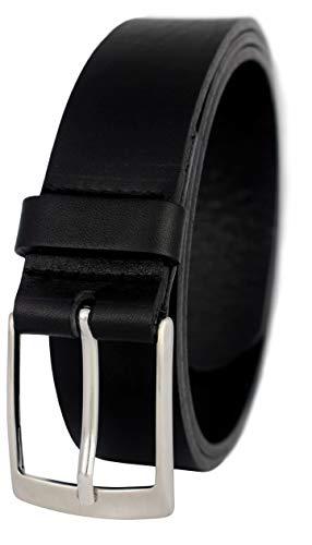GREEN YARD Vollledergürtel aus 100% Rindleder für Herren 3,5cm Breite, Gr.-115 cm Bundweite = 130 cm Gesamtlänge, Schwarz