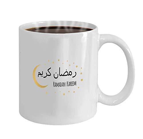 Patrón personalizado 100% taza de café de cerámica de 11 onzas en cumpleaños, taza de té navideña, vector creativo blanco, luna creciente y estrella para el mes sagrado de la comunidad musulmana, cele