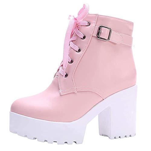 High Heels Ankle Boots mit Blockabsatz und Schnürung 10cm Absatz Stiefeletten Schuhe(Pink,40)