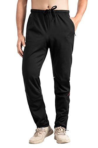 NENK Winter Thermal Cycling Pants Mens Biking Pants Cold Weather Bicycle Pants 4XL Black