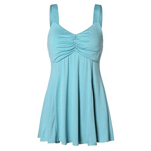 TOPKEAL Camiseta de verano sin mangas para mujer, estilo camisola, bustier, parte superior de un solo color, moderna, cómoda, informal, espalda descubierta, túnica, chaleco azul XL