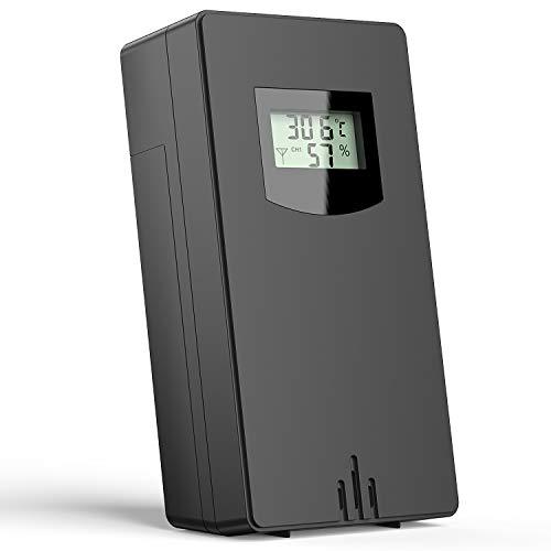 Quntis czujnik zewnętrzny do bezprzewodowej stacji pogodowej, czujnik z wyświetlaczem pokazuje temperaturę i wilgotność, 2 baterie AA - czarne