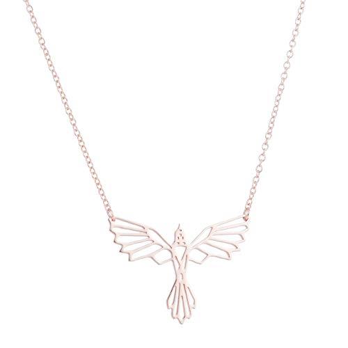 GYXYZB Phoenix Origami Collar Collar Geométrico Alas De Animales Pájaros Volando Adornos