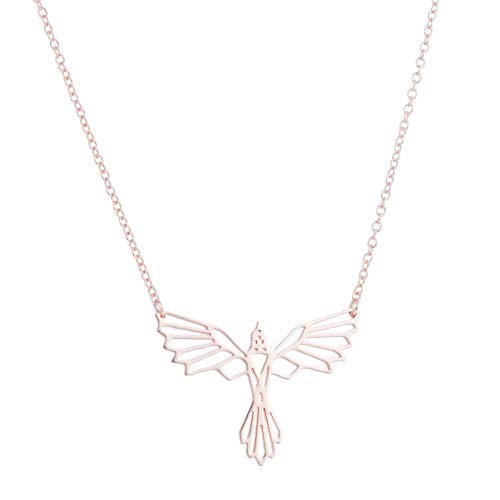 GYXYZB Phoenix Origami Ketting Geometrische Ketting Dierlijke Vleugels Vliegende Vogels Ornamenten