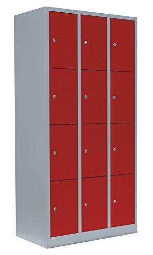 Schließfachschrank Wertfachschrank Fächerschrank Spind Umkleideschrank 12 Fächer-Spint 520434 Lichtgrau/Rot kompl. montiert und verschweißt