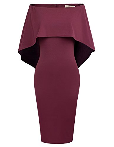 GRACE KARIN Women Knee Length Formal Cloak Gown Homecoming Dress XL Wine Red