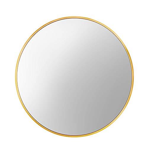 Lekesky Rund Spiegel mit Aluminiumlegierungsrahmen, HD Wandspiegel 45 cm für Badezimmer, Schlafzimmer, Eingangsbereiche und Wohnzimmer, Gold