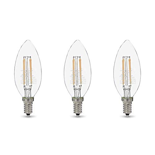 Amazon Basics 60W Equivalent, Clear, Soft White, Dimmable, 15,000 Hour Lifetime, B11 (E12 Candelabra Base) LED Light Bulb | 3-Pack