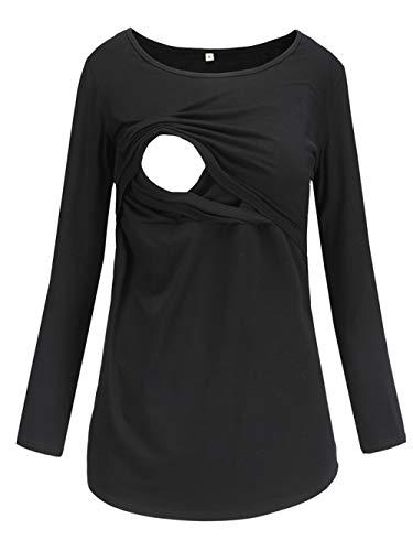 Love2Mi Damen Schwangere Stillen Shirt Nursing Langarm Rundhals Top Schwangerschaft Umstandstop,Schwarz,S