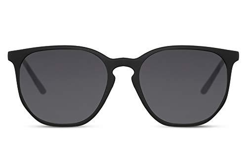 Cheapass Lunettes de soleil Tendance Monture Noire Mate Ronde Caoutchoutée avec des Verres Foncés Vintage Protection UV400 Hommes Femmes