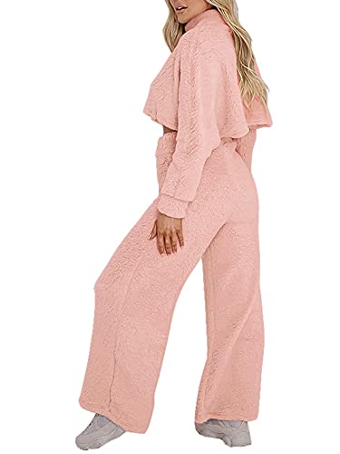 Women's Fuzzy Sweatsuit Mock Neck Long Sleeve Crop Tops Wide Legs Pants Lounge Tracksuit 2Piece Outfits Sets (Pink, X-Large)