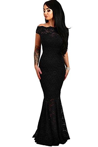 elegante abito cerimonia da donna in pizzo stile a sirena vestito lungo damigella festa, Black, Medium