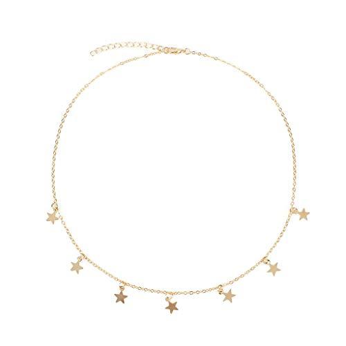 Yowablo Halskette für Frauen Mädchen Lucky Star Choker Halskette Anhänger Quasten Kette Statement (Gold)