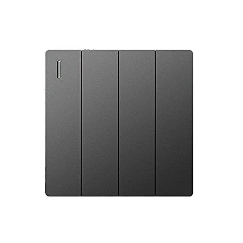 Yoaodpei American Simple Switch Panel Interruptor de alimentación de pared oculto para el hogar 86 Tipo Interruptor basculante oculto Gris Estético Panel grande Textura helada Controlador de energía d